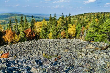 Beautiful autumn landscape. View from the top of Belaya mountain.Russia, Ural mountains 版權商用圖片