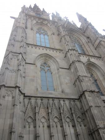 gotico: La catedral de Barcelona de Santa Eulalia en Barrio Gótico Foto de archivo