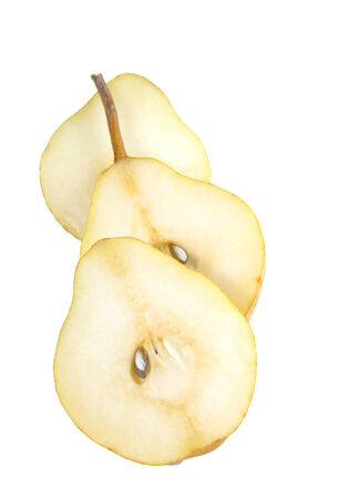 Slices of isolated Organic Pear photo