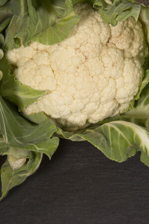 Organic Cauliflower dark background photo
