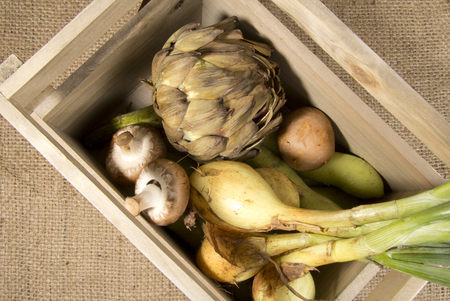 Organic Vegetables in a Wooden Crate photo