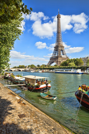 france: The Eiffel tower from the river Seine in Paris, France