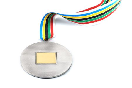 victor: silver medal with emty space in the centre isolated on white
