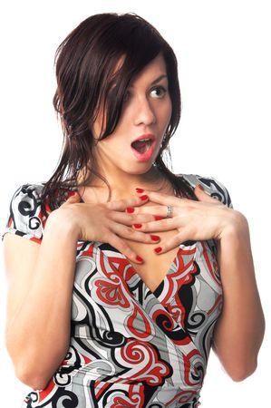 the big bang: portrait of sexy girl plays amazementon white background Stock Photo