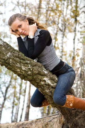 young adult girl is sitting on birch trunk in autumnal park photo