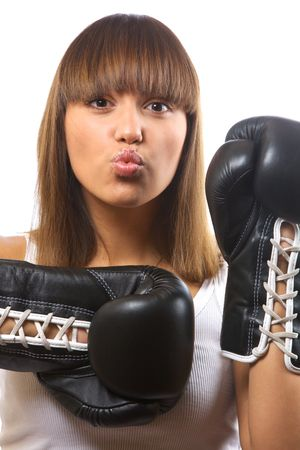 closeup portrait of girl with boxing gloves Stock Photo - 3905122