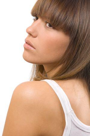closeup portrait of beautiful brunettte photo