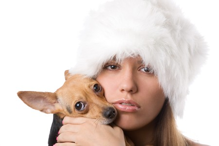 closeup portrait of young woman with dog on white photo