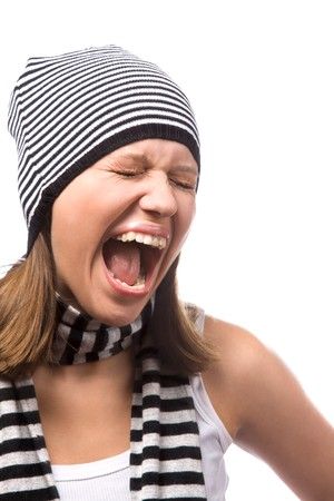 portrait of shouting young woman on white Stock Photo - 4080959