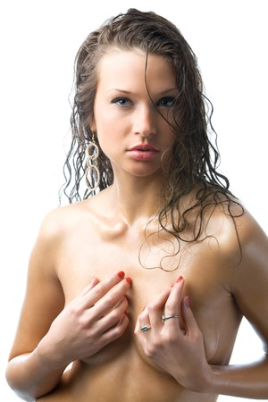 sexy blue eyes wet body with drops photo