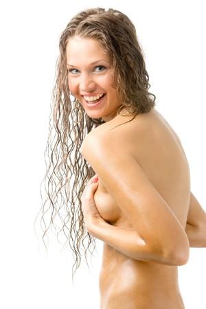 nude beautiful girl on white photo
