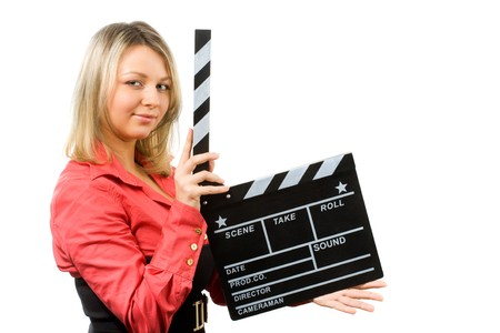blond with clapperboard on white  photo