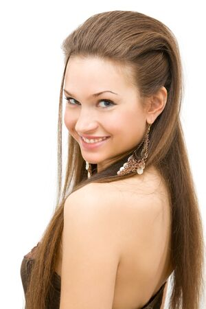 young brown hair lady iwith hairstyle photo