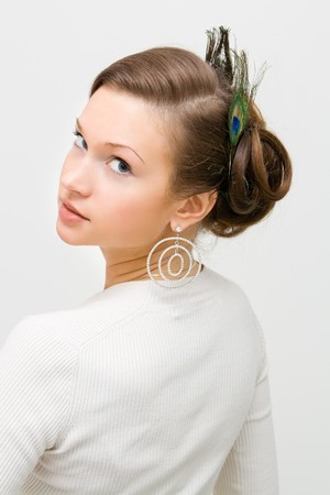 young brown hair lady with hairstyle photo