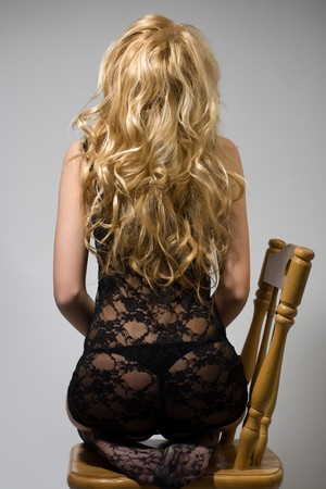 back of sexy young blond hair photo