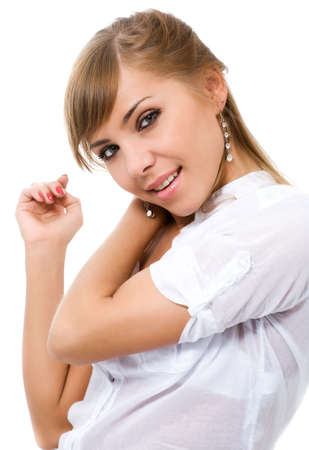 young pretty woman dancing on white Stock Photo - 4769272