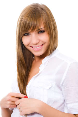 young pretty woman on white Stock Photo