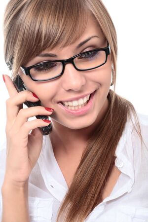 close-up portrait of young beautiful woman on mobile phone Stock Photo - 4988320