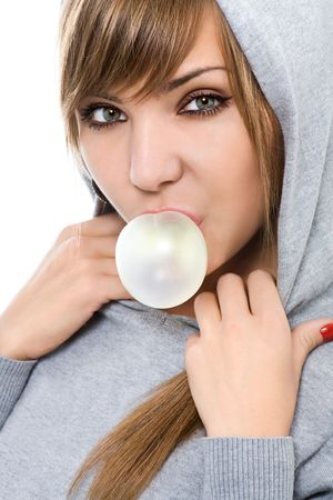 young woman with chewing gum isolated on white photo