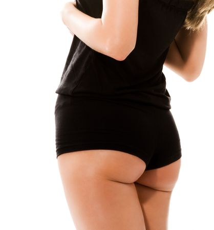 closeup sexy ass isolated on white photo