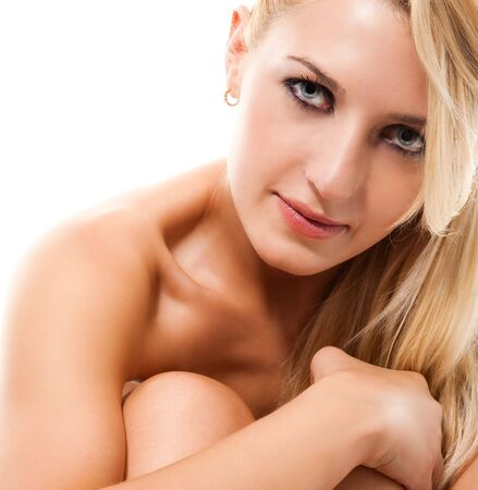 nude portrait of blond sexy woman isolaten on white