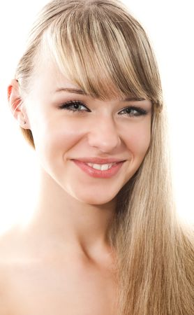 portrait of blond sexy woman isolaten on white