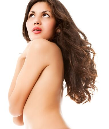 sexy young naked brown hair woman on white Stock Photo - 5465675
