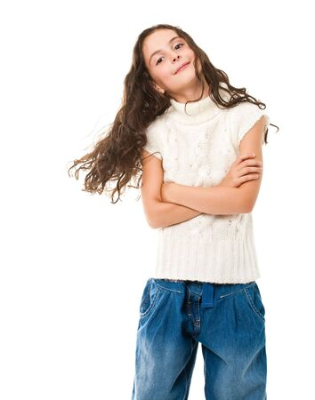 portrait of happy child isolated on white photo