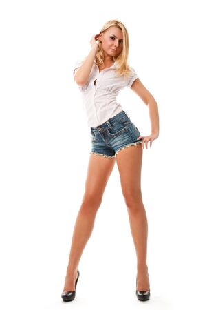 long sexy legs: portrait of smiling sexy young blond woman isolated on white