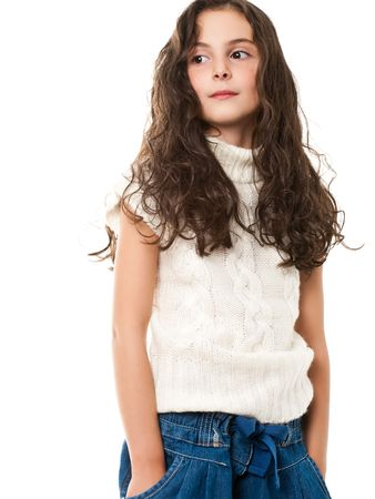 portrait of little girl smiling and cheerful isolated on white photo