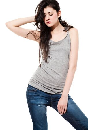 Glamour Portrait of sexy  black hair woman isolated on white. fashion style studio shot Stock Photo - 5855854