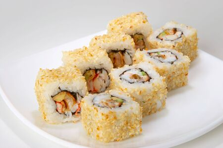 rolls with eel, crabmeat and avocado