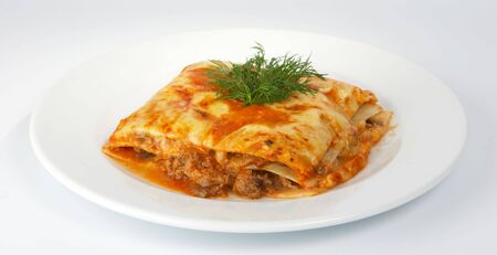 Lasagna with veal.