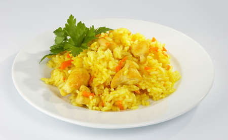 Pilaf with the hen. Stock Photo