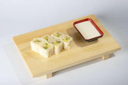 Fruit rolls on the tray on white background. Stock Photo