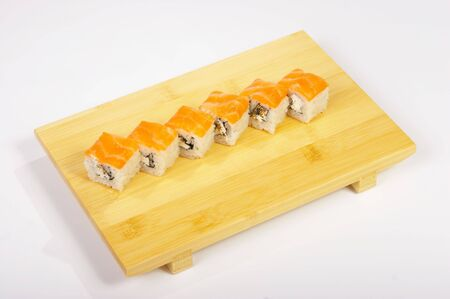 Rolls on the tray on white background.