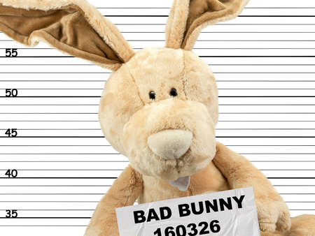 criminal easter bunny in the police station