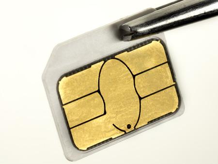 tweezers: Micro sim card on an tweezers