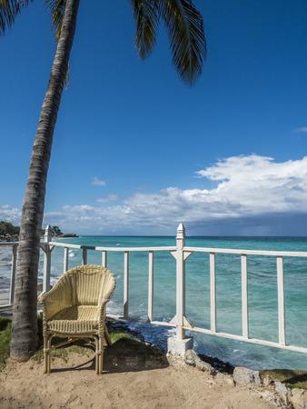 varadero: Tropical beach panorama with chair