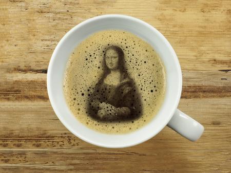mona lisa: Mona lisa in coffee froth Stock Photo