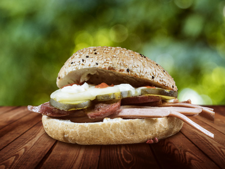 sandwitch: Kumru is the latest hit from Turkey. He is also soon to replace the kebab and he is also quite popular in Berlin. Kumru consists of meat noodles and a certain type of bread with chickpeas. Stock Photo