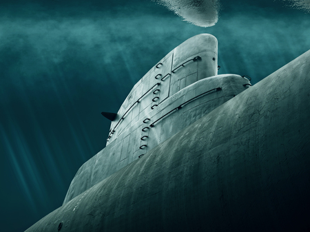Submarine lurking under the sea Banque d'images