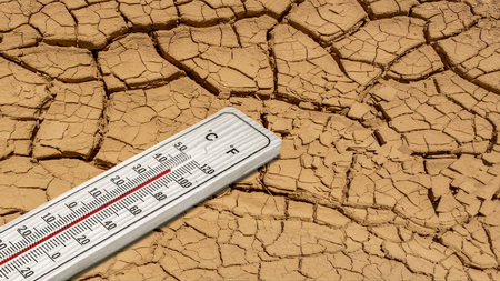 Dry soil at 45 degrees heat