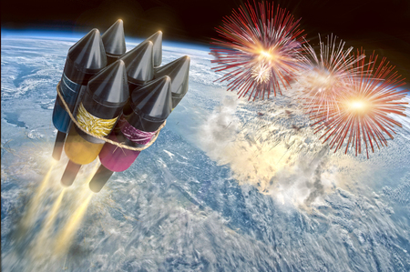 celebrate a mega party with a big rocket - Please do not imitate this is just an illustration 写真素材