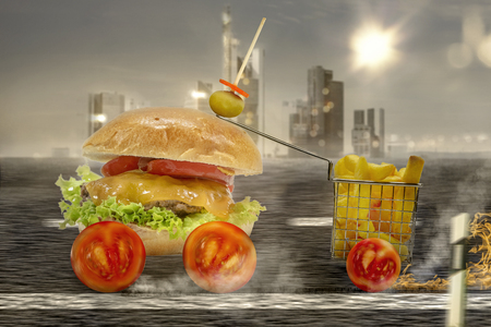 This image of a burger is an illustration 版權商用圖片