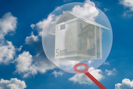 House from money is trapped in a bubble - 3D-Illustration