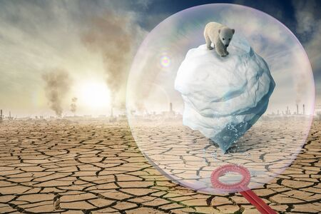 A soap bubble protects the Antarctic from climate change - 3D-Illustration