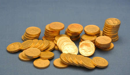 pound coins: Pound Coins in a Pile
