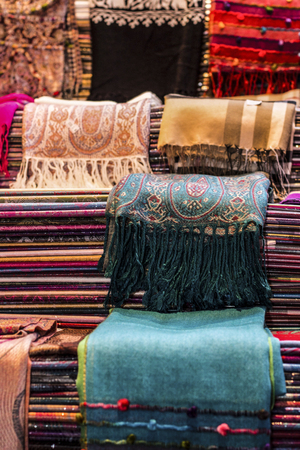 bazaar: Scarves on bazaar Stock Photo