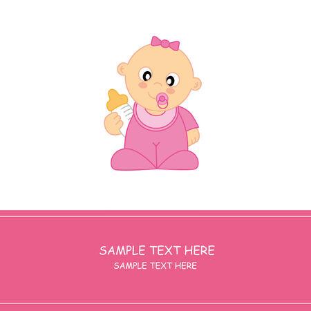Baby girl arrival announcement card Stock Vector - 9139851